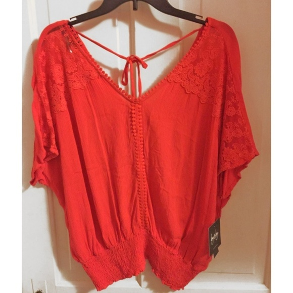 526a003f60101b by & by Tops | New Byby Coral Boho Lace Detail Tie Back Top | Poshmark